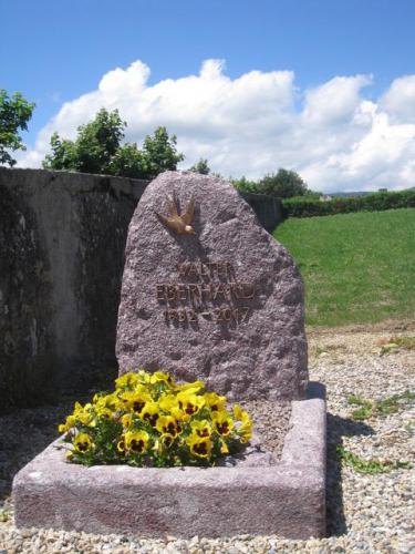 Monument funéraire en granit rouge, motif et lettres en bronze